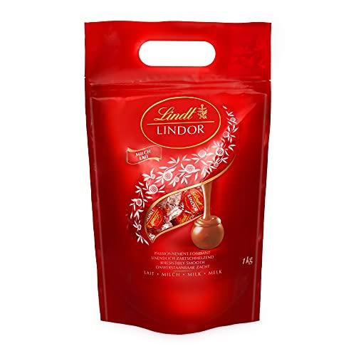 Lindt LINDOR Kugeln Vollmilch | 1 KG Beutel | ca. 80 Kugeln Milch-Schokolade mit zartschmelzender Füllung |...