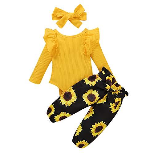Amissz Baby Kleidung Mädchen Langarm T-Shirt Top + Hose Kleinkind Babykleidung Set mit Stirnband für 0-24...