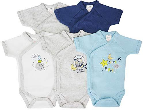 5er Pack Baby Jungen Bodys Wickelbodys Kurzarm Baumwolle Gr. 62 (3M)