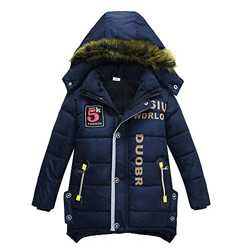 XXYsm Mantel Winter Kinder Junge Jacke Jacke Warme Outwear Mit Kapuze Steppjacke Coat Kapuzenmantel Dunkelblau...