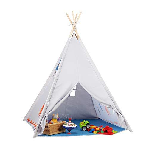 Relaxdays 10022461 Tipi Spielzelt, Tipi Zelt Kinderzimmer, Kinderzelt Drinnen und Draußen, ab 3, HxBxT: 155 x...
