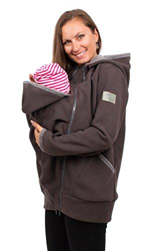 Viva la Mama Tragejacke mit Einsatz Fleece Umstandsjacke warm Damen Baby Jacke - Jesper - grau - L