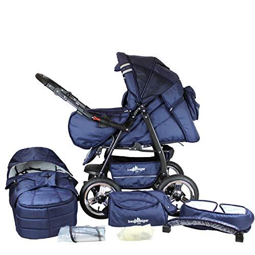Bergsteiger Rio Kombikinderwagen + Softtragetasche + Wickeltasche (10 - Teile); Farbe: Marine Blue