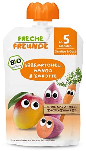 FRECHE FREUNDE Bio Beikost-Quetschie Süßkartoffel, Mango & Karotte, Babynahrung ab dem 5. Monat, glutenfrei...