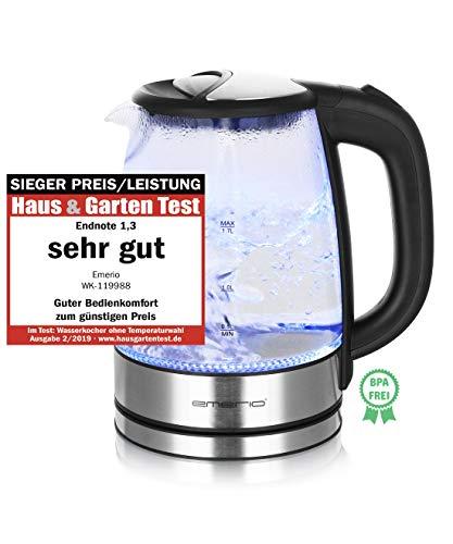 Emerio WK-119988 Glas Wasserkocher,1.7 Liter, 2200 Watt, LED Innenbeleuchtung, 360° Basis, Sieger...