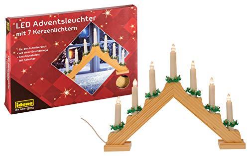 Idena 8582088 - LED Adventsleuchter aus naturfarbenem Holz mit 7 LED Kerzenlichtern, inklusive Ersatzlampe,...