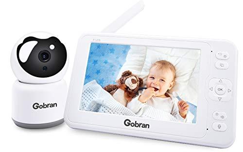 Babyphone mit Kamera 5 Zoll 1080P HD IPS Video Aufnahme Wiedergabe 360° Drehung 4 Erweiterbare Kameras,Gobran...