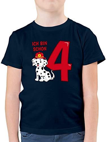 Geburtstag Kind - Ich Bin Schon 4 Feuerwehr Hund - 116 (5/6 Jahre) - Dunkelblau - 4. Geburtstag Junge deko -...