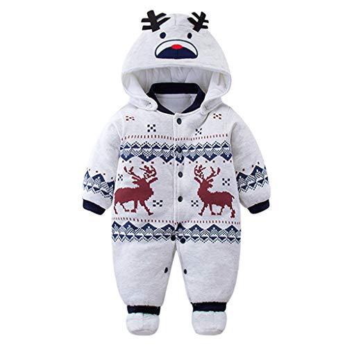 Baby Strampler Overall Winterjacke Onesie Unisex Cartoon Baby Strampelanzug mit Kapuze 3 Monate Vine