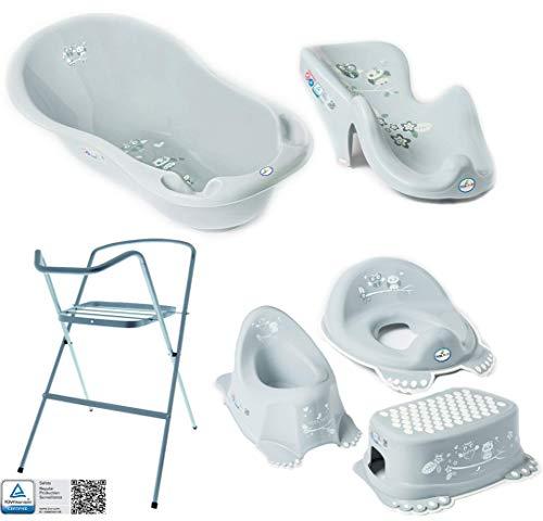 Baby Badewanne mit Gestell und Badewannensitz - Verschiedene Sets für Neugeborene mit Babybadewannen +...