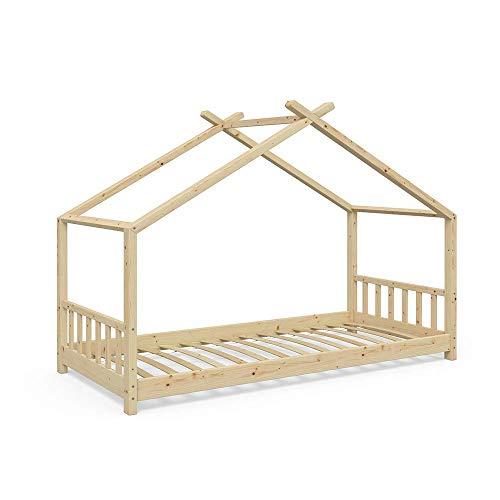 VitaliSpa Kinderbett Hausbett Design 90x200cm Natur Kinder Bett Holz Haus Schlafen Hausbett Spielbett Inkl....