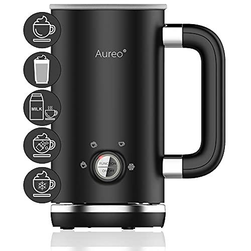 Aureo Elektrischer Milchaufschäumer in Schwarz - Milchschäumer mit 5 Funktionen für warmen und kalten...