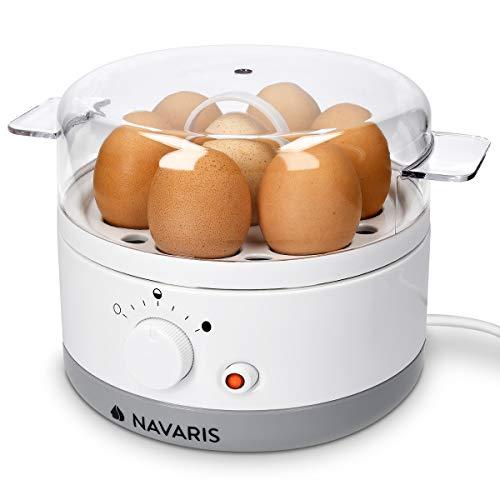 Navaris Eierkocher für 1-7 Eier - inkl. Wasser-Messbecher mit Eierstecher - Härtegrad einstellbar - 350W -...