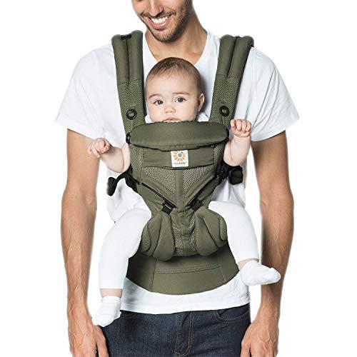 Ergobaby Babytrage ab Geburt, 4-Positionen Cool Air Omni 360 Khaki Grün, Ergonomische Baby Tragetasche für...