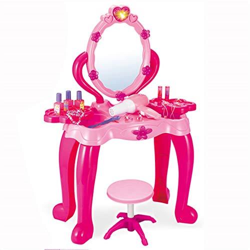 TikTakToo Schminktisch Frisiertisch für Kinder Mädchen Hocker Spiegel Rosa/Pink Kosmetiktisch Kosmetik...
