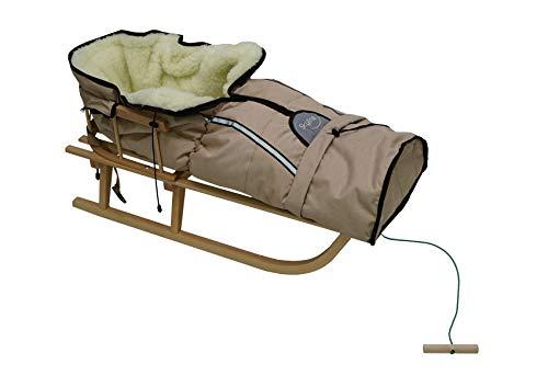 Holzschlitten für Kinder mit Rückenlehne Rodelschlitten Davoser Schlitten aus Holz mit einem...