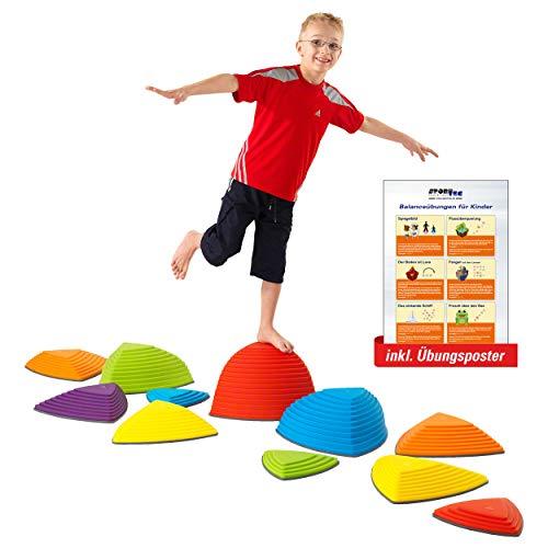 Sport-Tec Hügelkuppen-Set, Balance Spiel, Balancierspiel, Flusssteine, Kinder, Gymnastikblöcke,...