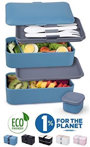 Umami® ⭐ Premium Lunchbox – 1 Soßendose & 3-teiliges Besteck – Japanische Luftdichte Bento Box –...