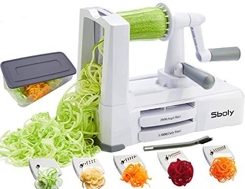 Gemüse Spiralschneider Gemüseschneider mit 5 Klingen, Zucchini Spaghetti Gerät Zoodle Gerät Veggie Pasta...