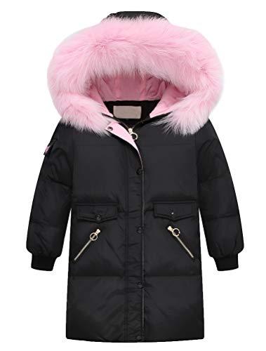 FTCayanz Mädchen Winterjacke Lang Jacken Mantel mit Fellkapuze Winter Daunenjacke Kinder Warm Wintermantel...