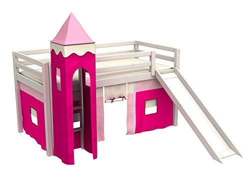 Bett für Kindert mit rutsche,vorhange,turm,matratze,lattenrost, Spielbett,kinderbett
