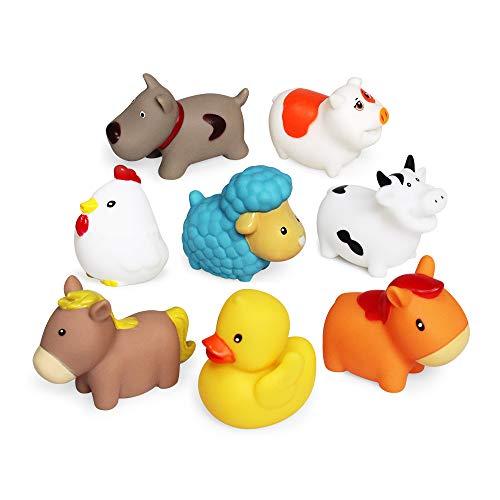 Schwimmendes Badespielzeug Farm Set(8 PCS),Weiche Hunde Enten Schaf Henne Schwein Badespielzeug,Badezimmer...