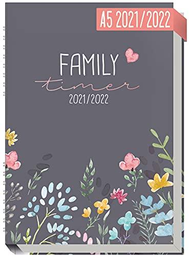 Family-Timer 2021/2022 A5 [Happy Flower] Der Familien-Kalender 18 Monate: Juli 21 bis Dezember 22 |...