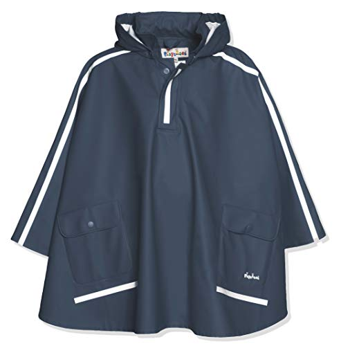 Playshoes Kinder Regencape, leichter Regenponcho, mit extra langem Rücken und abnehmbarer Kapuze, Blau...