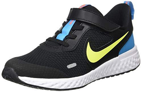 Nike Unisex-Child Revolution 5 (PSV) Running Shoe, Black/Lemon Venom-Laser Blue, 34 EU