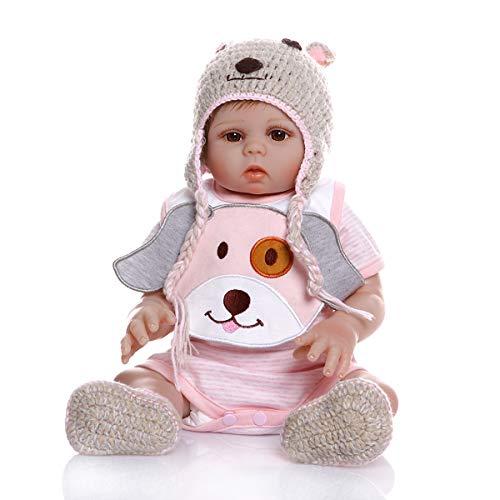 MineeQu 18inches 48cm Real Life Pink Welpen Premie Baby Größe Neugeborene Cuddy Baby Doll Look Echte Silikon...