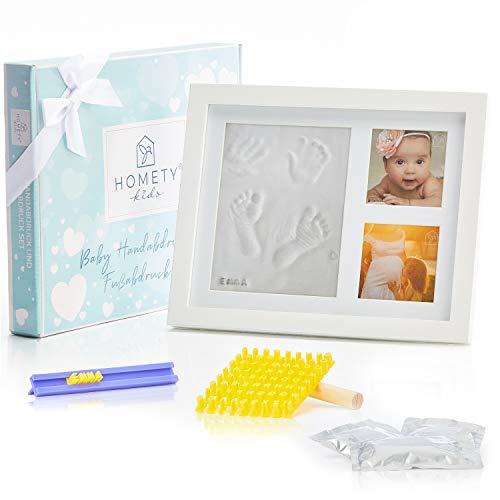 Homety® Gipsabdruck Baby Hand und Fuß mit Buchstaben Set und Bilderrahmen - Baby Handabdruck und Fußabdruck...