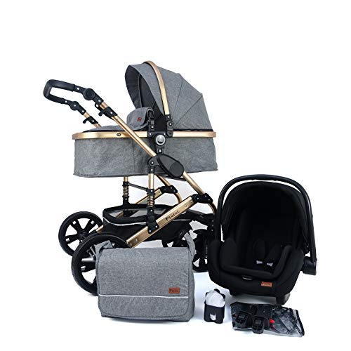Pixini Kombi-Kinderwagen (grau/gold, California 3in1 MEGASET)