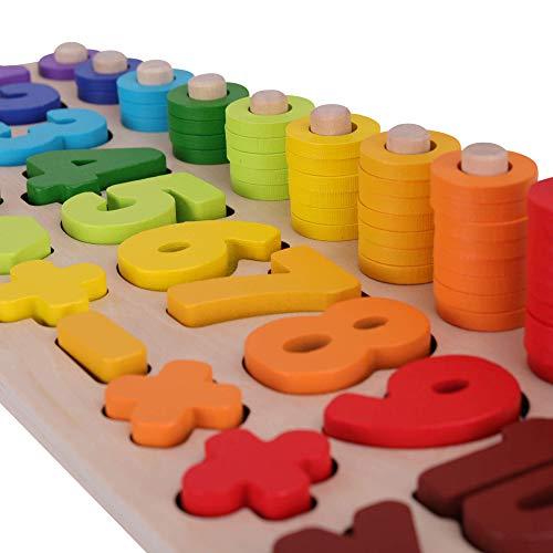 SCHMETTERLINE Holz-Puzzle mit Zahlen für Kinder ab 3 Jahre _ Montessori Spielzeug aus Holz zum Zählen Lernen...