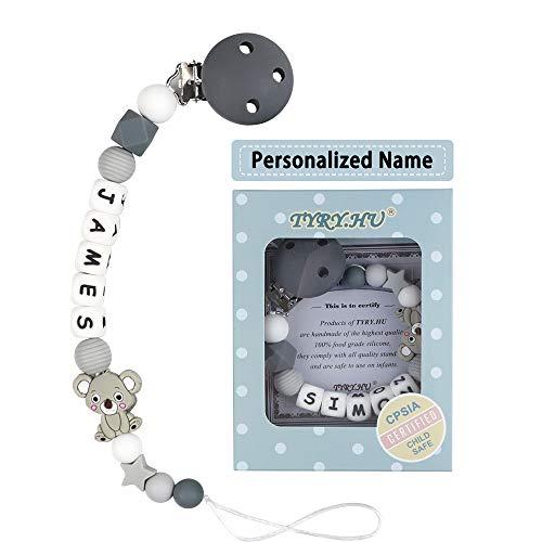 Schnullerkette mit Namen für Mädchen und Jungs Personalisierte Schnuller Dummy Clips Zahnen Silikon Koala...
