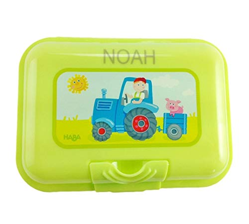 Babysutten BROTDOSE MIT Namen, HABA, Traktor