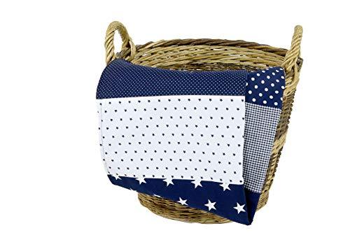 ULLENBOOM ® Babydecke 70x100 cm Blaue Sterne (Made in EU) - Baby Kuscheldecke aus ÖkoTex Baumwolle & Fleece,...