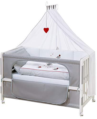 roba Beistellbett, Roombed, Babybett 60x120 cm 'Adam & Eule', Anstellbett zum Elternbett mit kompletter...
