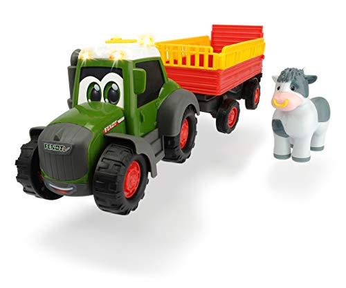 Dickie Toys 203815004 Happy Fendt Animal Trailer, Traktor für Kinder ab 1 Jahr, Trecker mit Tieranhänger,...