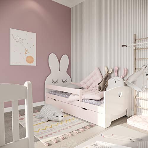 (70x160, Rosa) NeedSleep Hase Rausfallschutz Kinderbett Komplett - Bett mit Lattenrost Schublade Matratze...