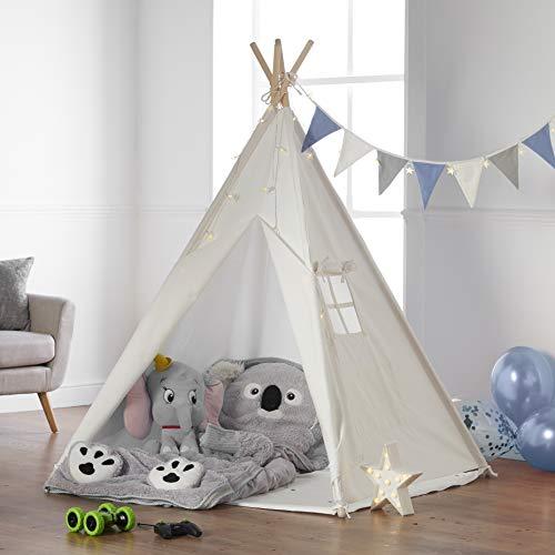 Haus Projekt Tipi Zelt Für Kinder mit Zubehör, Lichterkette, Wimpelkette, Aufbewahrungstasche & Bodenmatte...