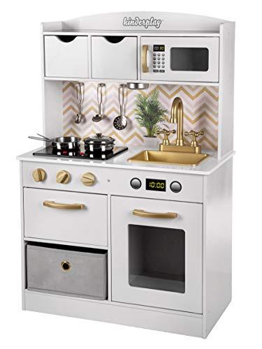 KinderplayGreen Holzküche Kinderküche Spielküche GS0059 Kinderspielküche küche Neu Weiß-Gold pielküche...