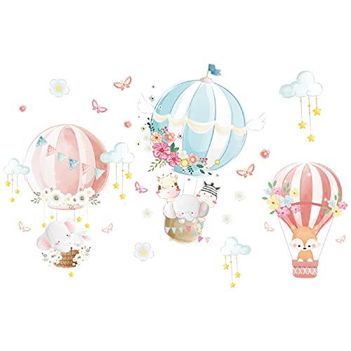 CreateHome® Aufkleber Tiere im Ballon für Kinderzimmer I 96 x 63 cm (BxH) I Junge Mädchen Zootiere...