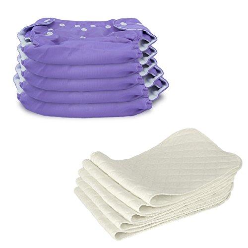 5 Stück Wiederverwendbare Waschbare Verstellbar Babywindeln Baby Windelhose Baby-Tuch-Windel Weicher Stoff,...
