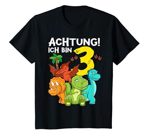 Kinder 3 Jahre alt Geburtstag Junge Dinosaurier Party Dino Motiv T-Shirt