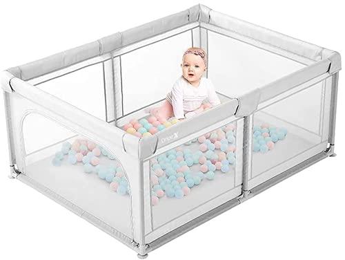Laufstall Baby Dripex Laufgitter Absperrgitter mit atmungsaktivem Netz 120x180cm Schutzgitter Krabbelgitter...