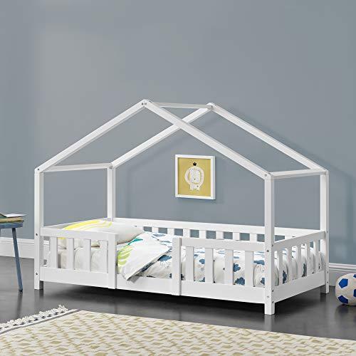 Kinderbett Treviolo mit Rausfallschutz 70x140cm Hausbett mit Lattenrost und Gitter Bettenhaus aus Holz...