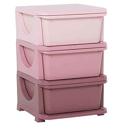 HOMCOM Schubladenschrank für Kinder mit Stauraum Aufbewahrungsboxen Spielzeug-Organizer Spielzeugkiste DREI...