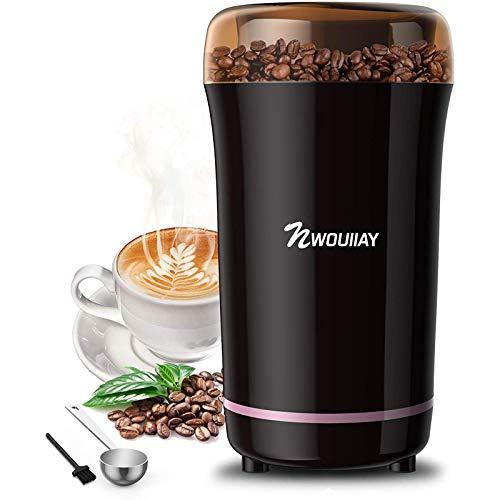 NWOUIIAY Kaffeemühle Elektrische Kaffeemühle elektrische 300W Mühle für Kaffeebohnen Nüsse Gewürze...