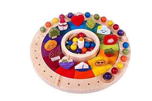 Waldorf Kalender Holzkreis, Jahreskreis Montessori, Jahreskalender mit Figuren 33cm