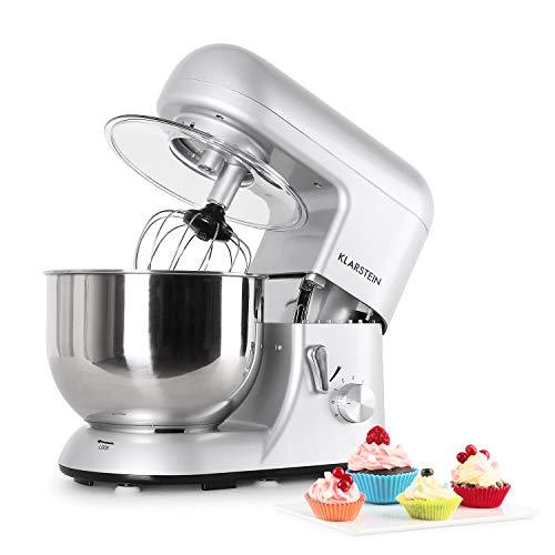 Klarstein Bella Argentea Küchenmaschine Rührgerät (1200 Watt, 5,2 Liter-Rührschüssel, 6-stufige...